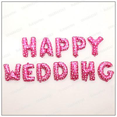 bong chu happy wedding mau hong cham tim