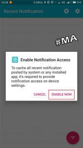 Klik Enable Now Untuk Mengaktifkan Akses Notifikasi