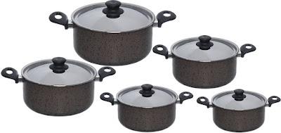 طقم اواني الطهي جرانيت 12 قطعة من تروفال، رمادي
