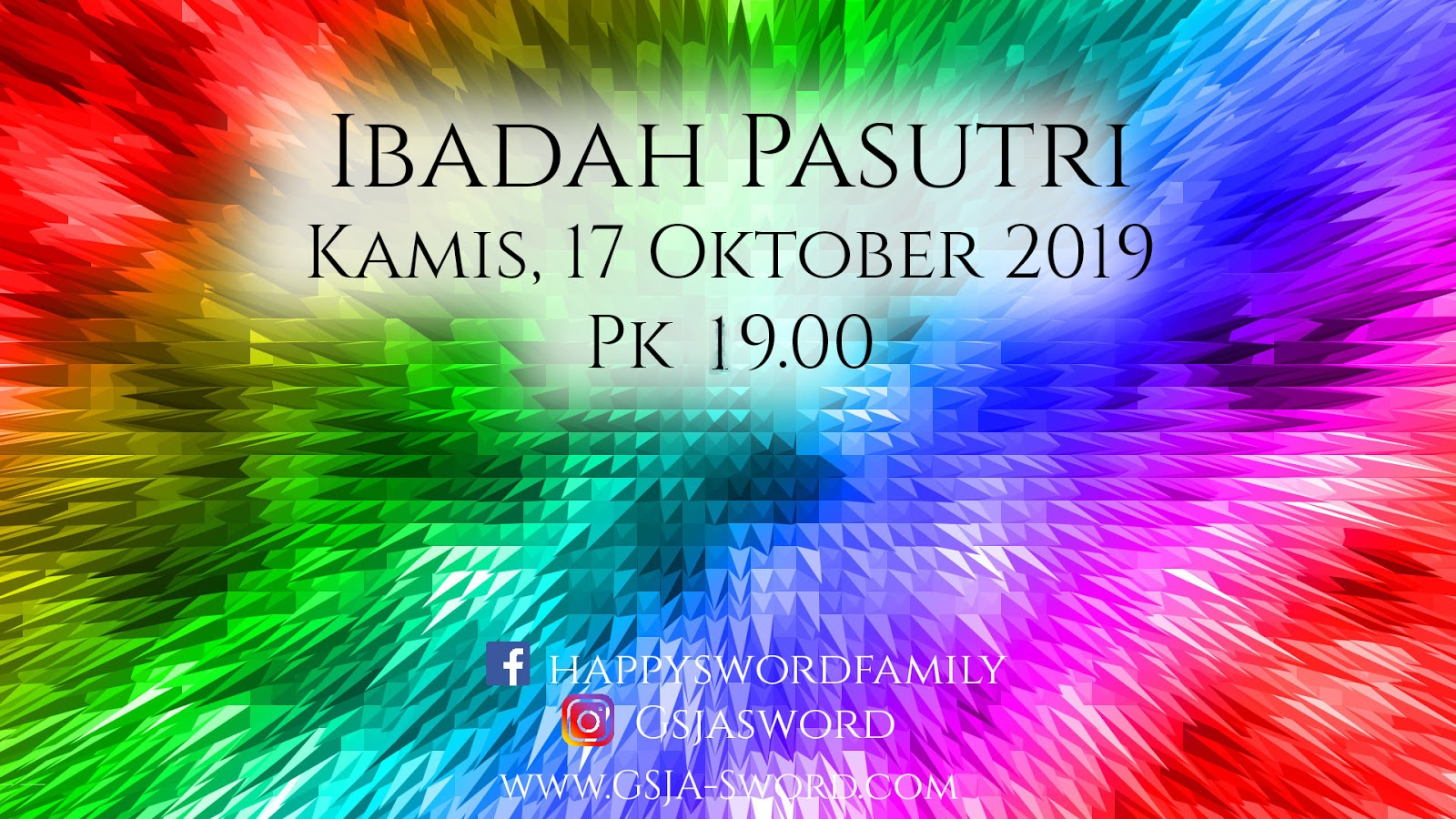 Ibadah Pasutri 17 Oktober 2019 Jam 19.00 WIB