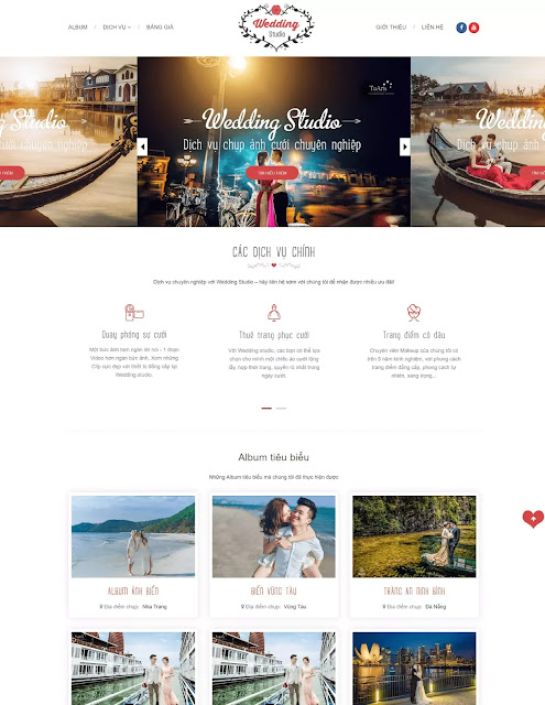 Template blogspot ảnh cưới Wedding Studio