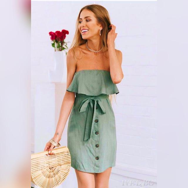 c09aafadbb9c Strapless κοντό πράσινο φόρεμα PHILIPINA