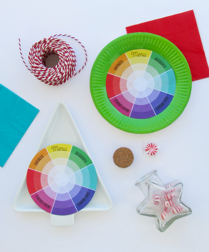 Free printable color wheel inspired menu cards, entertaining, holiday decor, parties