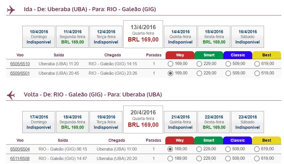 Uberaba para Rio de Janeiro