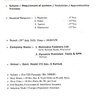 ITI Job Campus Placement Drive For Mahindra Fasteners Ltd and Dynamic Precision Tools & SPM at Govt. Model ITI, Rohtak, Haryana