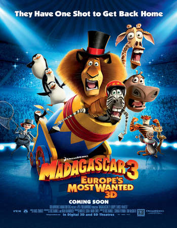 Poster Of Madagascar 3 Europe's Most Wanted 2012 Dual Audio 130MB BRRip HEVC Mobile ESubs Free Download Watch Online Worldfree4u