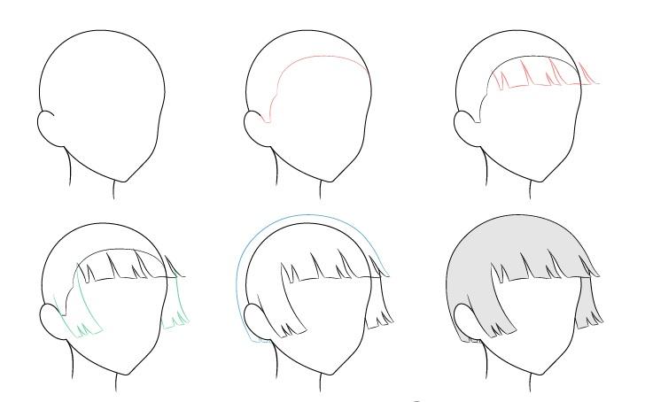 Anime memotong rambut bertiup angin 3/4 tampilan menggambar langkah demi langkah