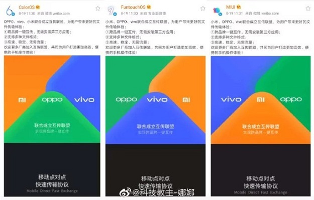 Xiaomi, OPPO, and Vivo announced the creation of a new alliance for cross-brand files transfer like Apple Air Drop