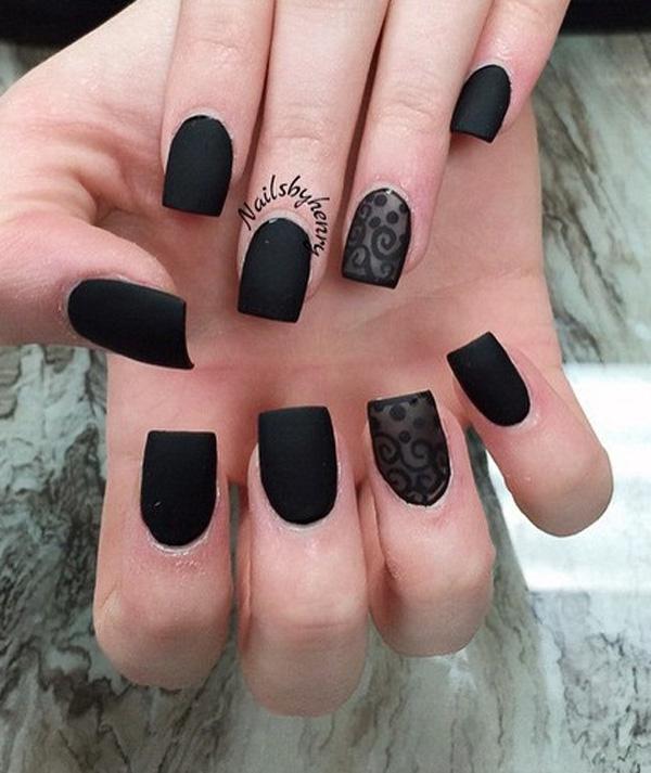 40 BLACK NAIL ART IDEAS - Fashion Hippoo