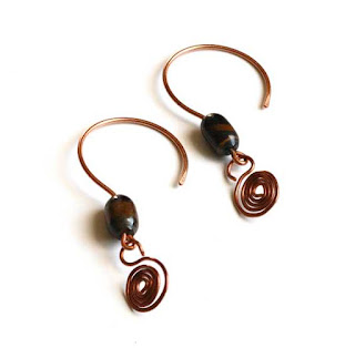 Blue Tiger Eye & Copper Dangle Earrings