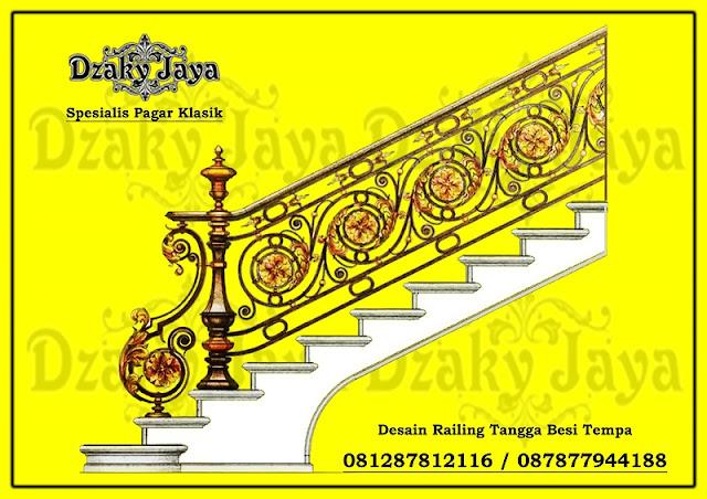 Contoh railing besi tempa ulir dengan model klasik