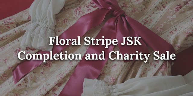 Banner image of the waist bow on the dress, text on top says Floral Stripe JSK Completion and Charity Sale