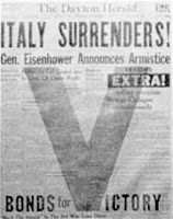 1943 Newspaper Headline: Italy Surrenders - Source: nationalmuseum.af.mil