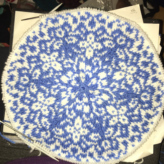 blue and white stranded colorwork reminiscent of Delft pottery
