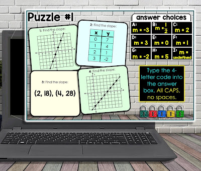 Finding Slope Digital Math Escape Room, puzzle #1 - finding the slope given graphs, tables and pairs of coordinate points