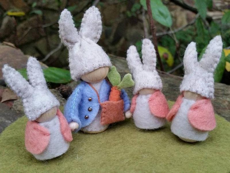 peter rabbit felt set of bunny peg dolls