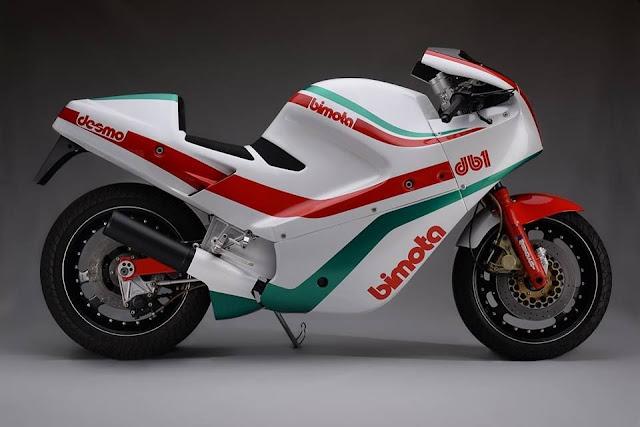 White/red/green Bimota DB1 1980s Italian superbike