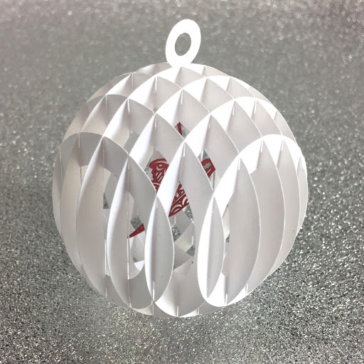 Corner view of sliceform snow globe.  Free cut file and tutorial by Nadine Muir for Silhouette UK