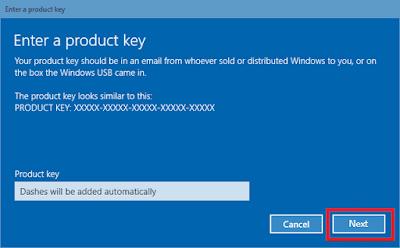 15. Masukkan 25 digit Product Key Windows 10