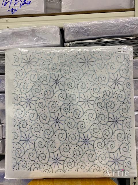 Hotfix stickers dmc rhinestone aplikasi tudung bawal fabrik pakaian corak abstrak bunga bintang biru