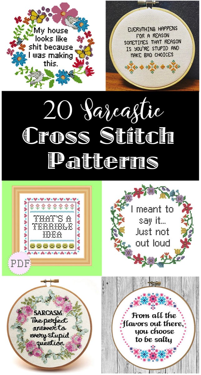 20 Sarcastic Cross Stitch Patterns Pg Pg 13 And R Rated The Kim