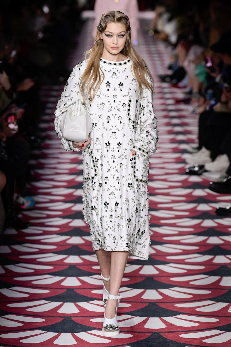 Gigi Hadid walking for Miu Miu fw20