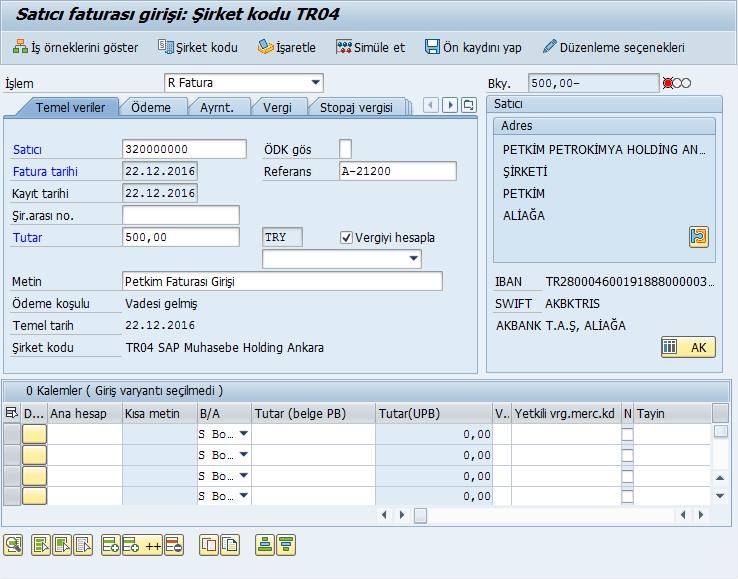 FI Modülünde Satıcı Faturasının Girilmesi (FB60)   SAP Muhasebe