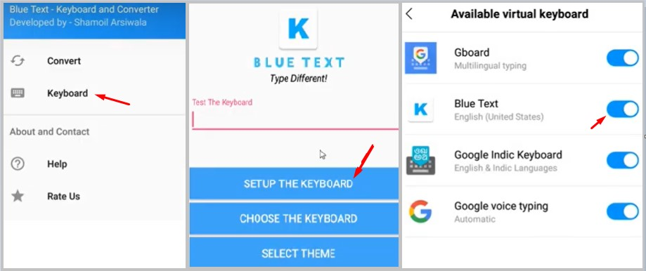 colour text sending method