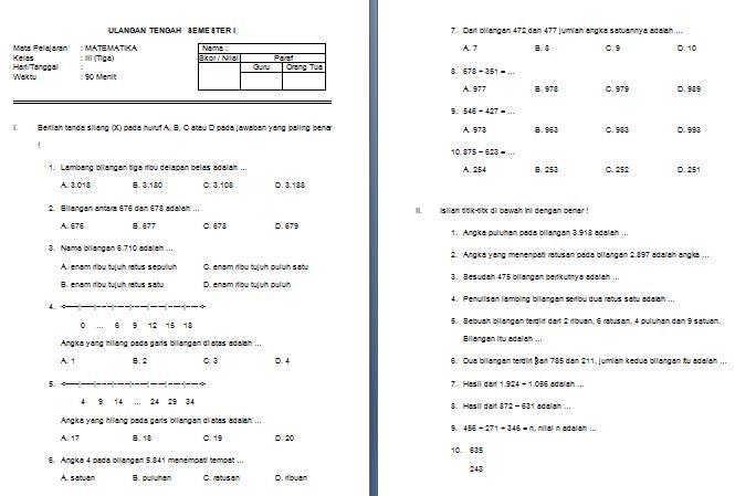 Contoh Soal Latihan UTS SD Kelas III Semester 1 Mata Pelajaran Matematika Format Microsoft Word
