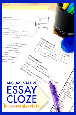 """Review essay writing structure with this cloze activity.  Students read through the passage that """"talks through"""" what an argumentative essay should have structure-wise. There are blanks to fill in using a word bank.  This quickly and easily tests students' knowledge so you can prepare any last minute review before their big state writing test!"""