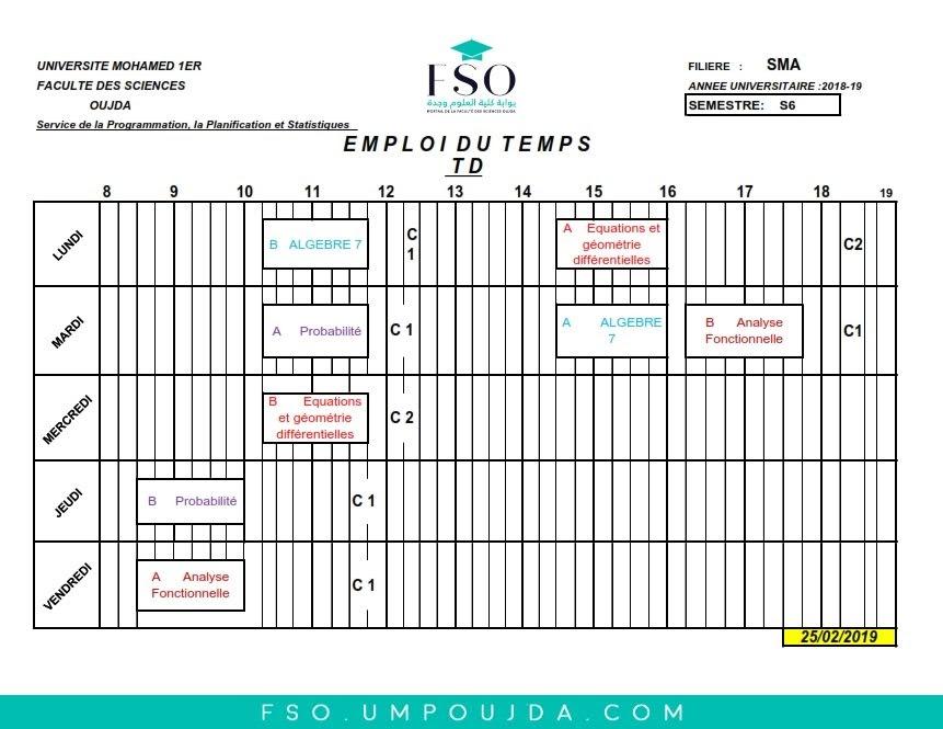 Emplois du Temps des TDs SMA S6 - Session Printemps 2018/2019