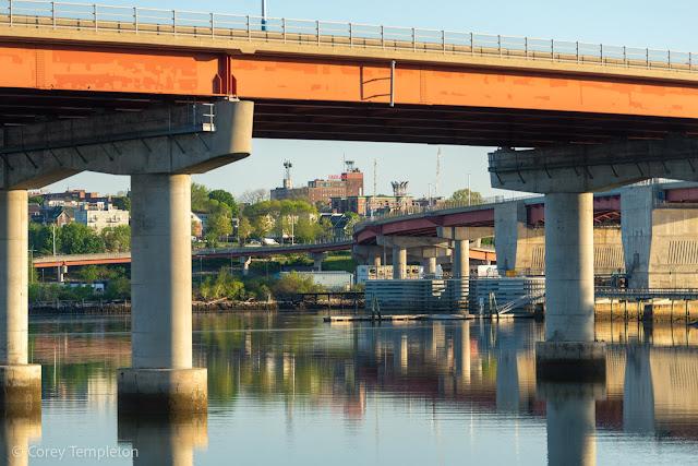 Portland, Maine May 2021 photo by Corey Templeton. Under the long and winding Casco Bay Bridge towards Skyline.