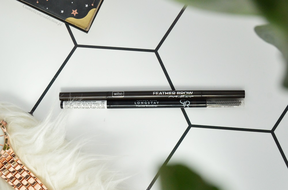 Porównanie kredek do brwi - Wibo, Feather Brow Creator vs Golden Rose Precise Browliner