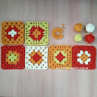 cuadrado al crochet multicolor