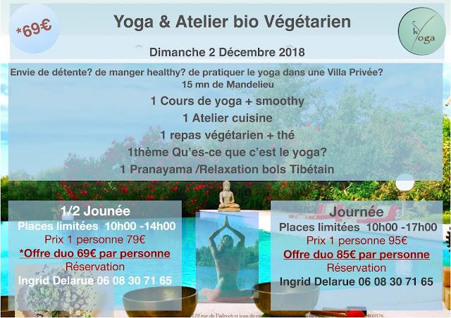 Réservation Yoga wellness day bio gegetarien dimanche 2 décembre