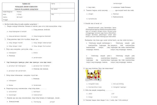 Soal PAS Kelas 2 SD/MI: Tema 4