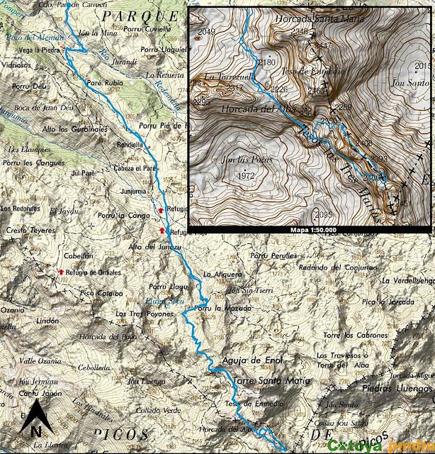 Mapa de la ruta a las Tres Marías saliendo desde Pandecarmen en Picos de Europa.
