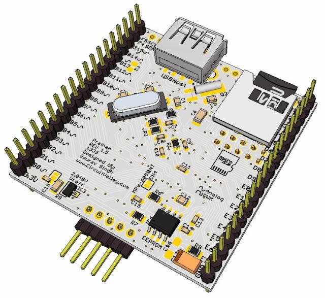 Pratham: Breadboardable PIC32 Breakout/Development Board With USB OTG , USB/SDCard/UART Bootloader 18