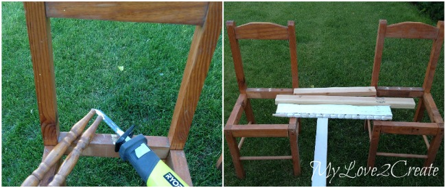 cut off chair spindles with sawzall