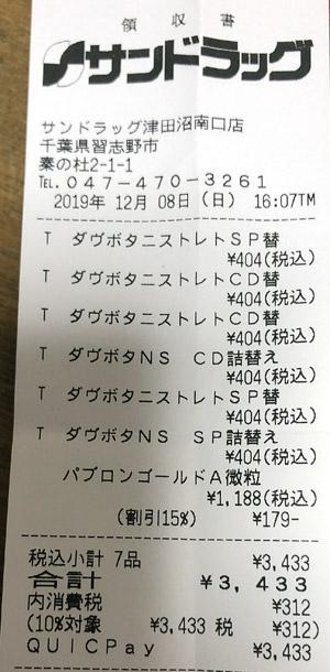サンドラッグ 津田沼南口店 2019/12/8 のレシート