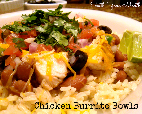 Chicken Burrito Rice Bowls | All your favorite burrito ingredients served over an easy, delicious Mexican rice in a bowl or stuffed in a tortilla.