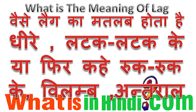 What is the meaning of lag in Hindi