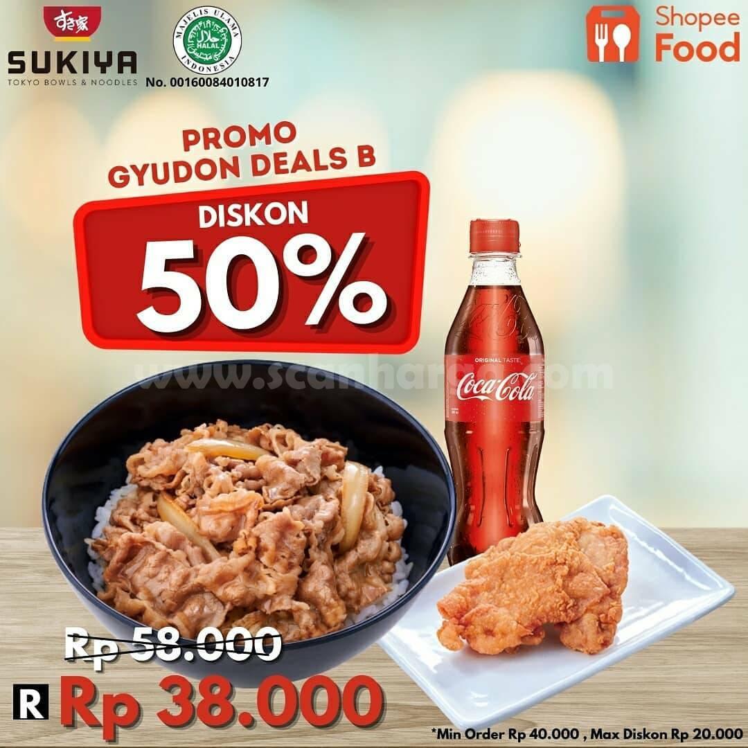 Promo SUKIYA GYUDON DEALS DISKON hingga 50% via ShopeeFood