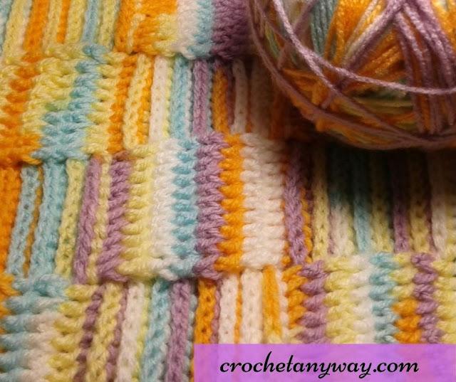 crochet blanket in variegated yarn