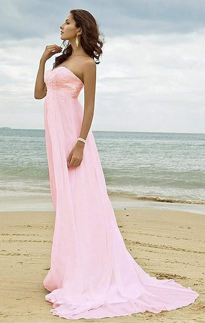 Pink Chiffon Bridesmaid Dresses For Beach Wedding