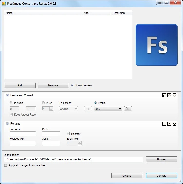 DVDVideoSoft Free Image Convert and Resize