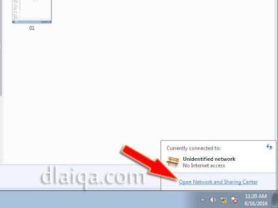 klik 'Open Network and Sharing Center'