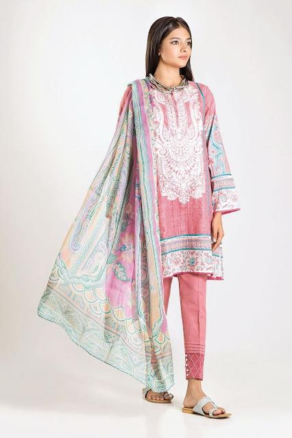 khaadi winter collection karandi chiffon pink dress
