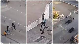 (بالفيديو)فتاة متدينة تقومون بعماليات براكاج في واضح نهار برفقة شابين