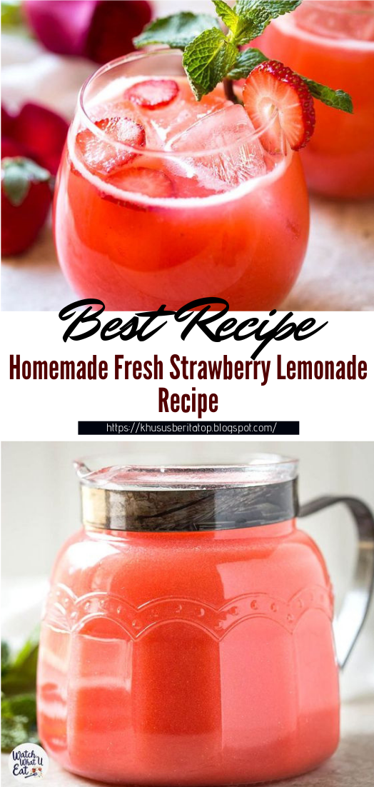 Homemade Fresh Strawberry Lemonade Recipe #healthydrink #easyrecipe #cocktail #smoothie